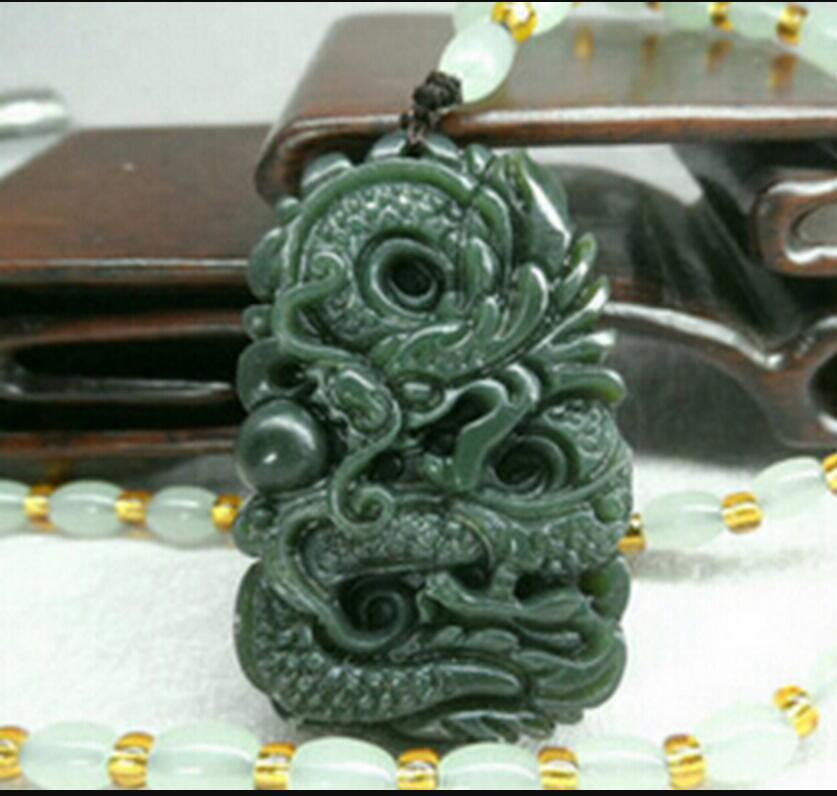Necklace 830 Chinese Natural Green Hand-carved Hetian Jade Pendant - Dragon Necklace