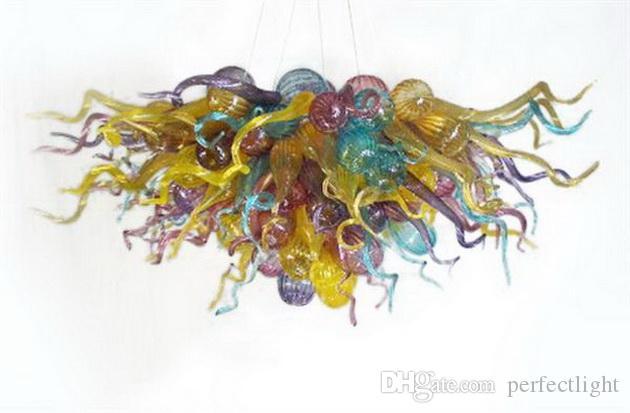 Decoración colorida soplado Arte Murano lámpara de cristal de estilo italiano moderna decoración de cristal Chihuly estilo de la lámpara