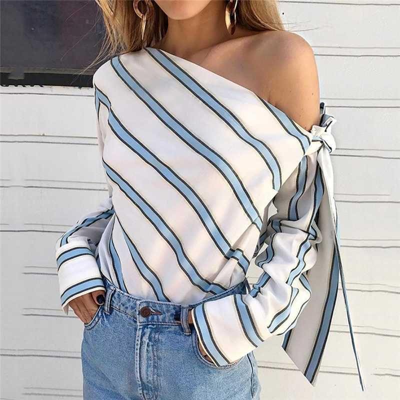 المرأة الصيف مخطط جديد فضفاض بلوزة أزياء سيدة معطلة الكتف الرباط حتى القمصان القمم أنيقة أنثى بلوزات كم طويل شيك