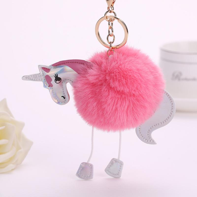 DROPSHIPPING Unicorn Faux Rabbit Fur Ball Pom Pom Keychain Kids Doll Toys for Girls Birthday Christmas Gift Unicorn Pendant