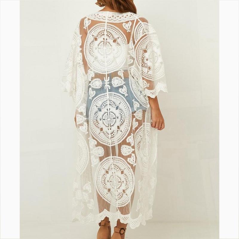 Plaj Kadınlar Beyaz Elbise Tunik Elbise Beyaz Mayo Kapak Yukarı mayo Kapak Ups için sarong Plaj Wrap Elbise