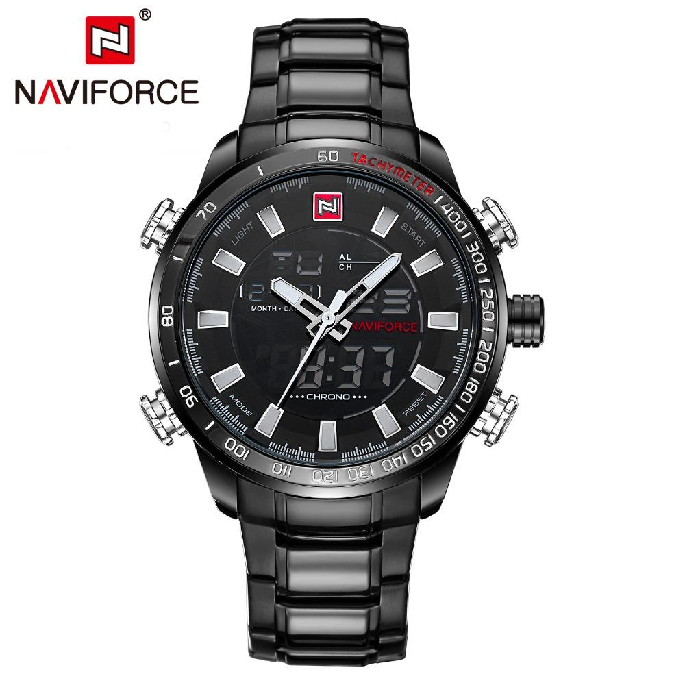 NAVIFORCE 9093 Men's Chrono Sport Watch Brand Military Waterproof EL BackLight Digital Wrist watches Men Stopwatch Clock