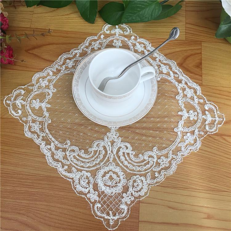 Variety European Style Lace Embroidered Napkin Vase Cushion Coffee Table Mat Lamp Pad Tray Small Appliances Cover