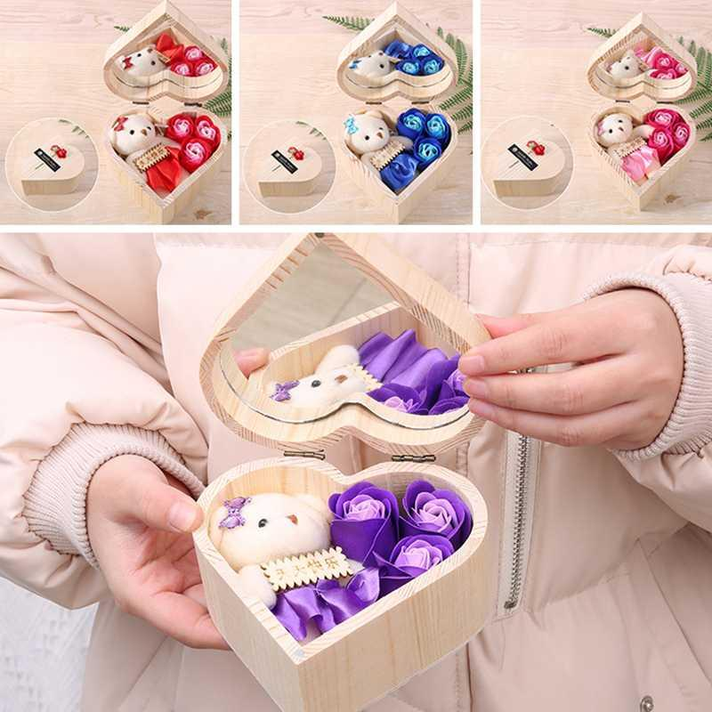 Mother's Day Gift Box Heart Shaped Wooden Box With Mirror Creative Simulated Rose Soap Flower Bear Gift