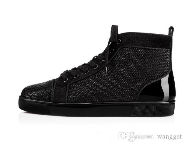Новый горячий бренд Мужчины Женщины Повседневная мода высокое качество черный лакированная кожа лоскутное высокое верхнее Красное дно кроссовки [оригинальная коробка, EU35-46]