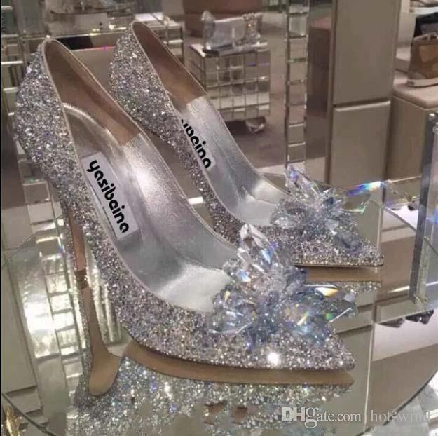 Sapatos de prata Champagne / Red Moda Luxo Designer Mulheres Calçados Salto Alto casamento de noiva sapatos de noite de cristal do partido do baile de finalistas de Verão
