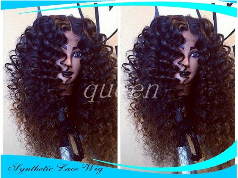 Лучшего качество Natural Black Glueless Синтетических парики Kinky завитого фронт шнурок жаропрочного волокно завитые Синтетический парик фронт шнурок