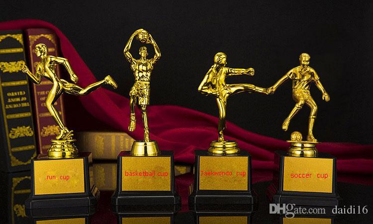 Смола баскетбол футбол трофей Спорт трофей Золотой плакировкой награда ремесло сувенир маленький золотой человек Футбол Баскетбол Тхэквондо бежать