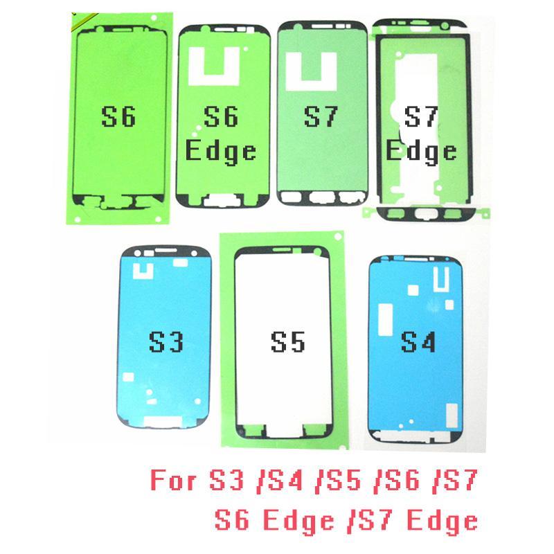 Samsung Galaxy S3 S4 S5 S6 S6 Kenar S7, S7 Edge için 100pcs / lot Orijinal Ön Kesimli Ön Çerçeve Yapışkan LCD Sticker Tutkal Bant
