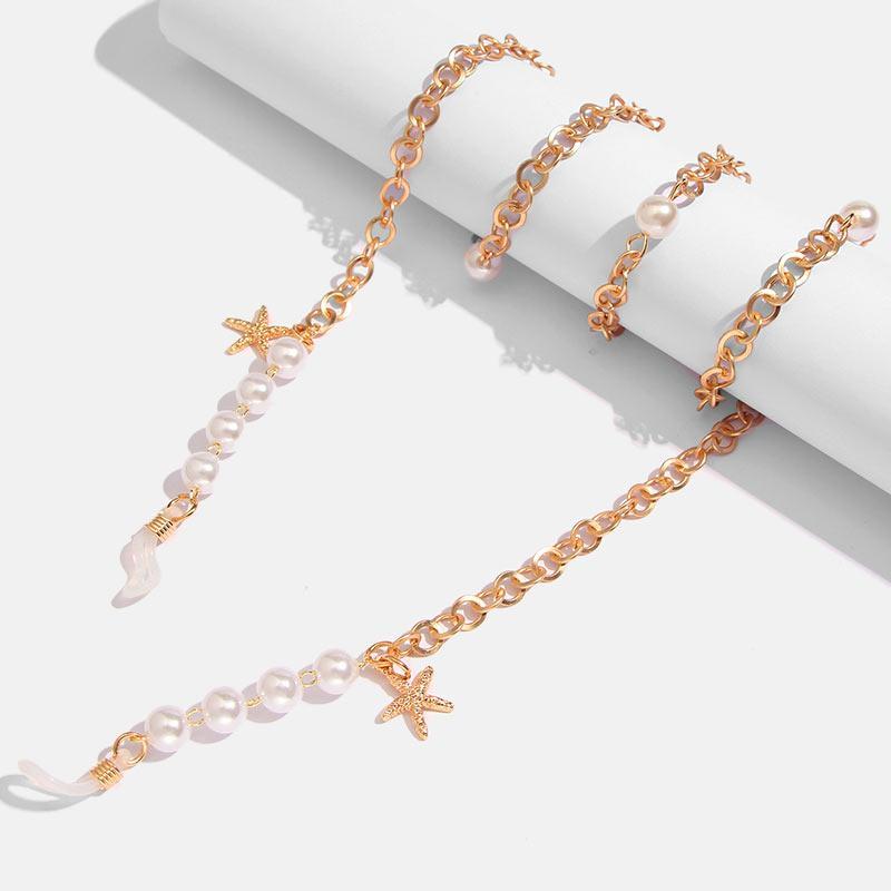Flatfoosie exquis Lunettes Chaîne en or Color Star imitation de perles de mode chaîne élégante Tempérament Eyeglass Eyeglass Longe