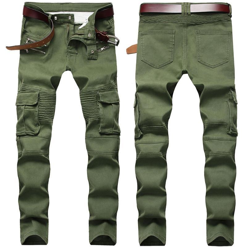 Erkekler Sıkıntılı Jeans Moda Erkek İnce Skinny Jeans Motosiklet Moto Biker Nedensel Erkek Denim Pantolon Hip Hop Erkekler Jeans 1701 Ripped