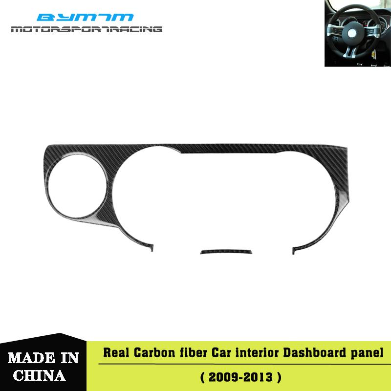 Real Carbon Fiber Car Stickers Dashboard Instrument Panel Trim Cover Interior Moulding Decorative Strips For Mustang