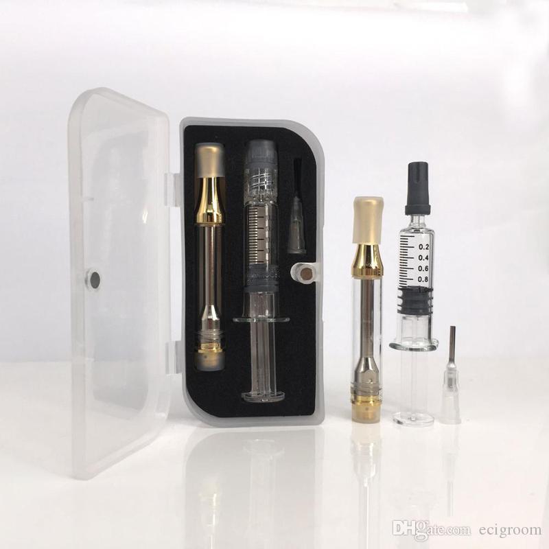 المحاقن الزجاجية مع علبة تغليف علبة خزان الزيت الزجاجية Glod AC1003 باستخدام أداة تعبئة الزيت Luer Lock Portable Starter Kit