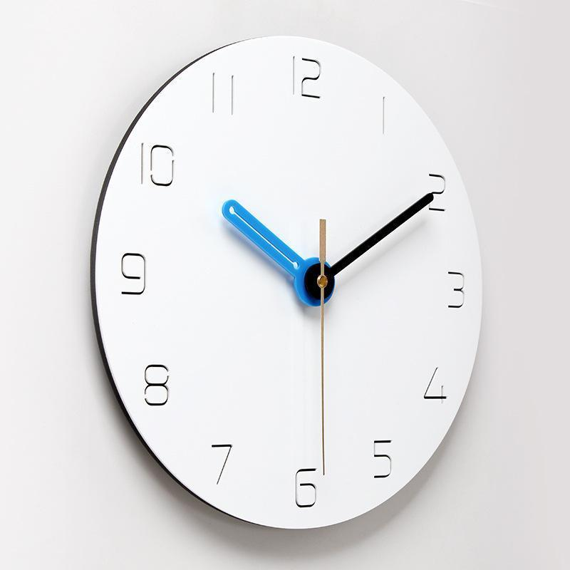 12 Inch Wall Clock Nordic Household Mute Sala Quarto minimalista moderno parede decorativo relógio Quartz Rodada Clocks