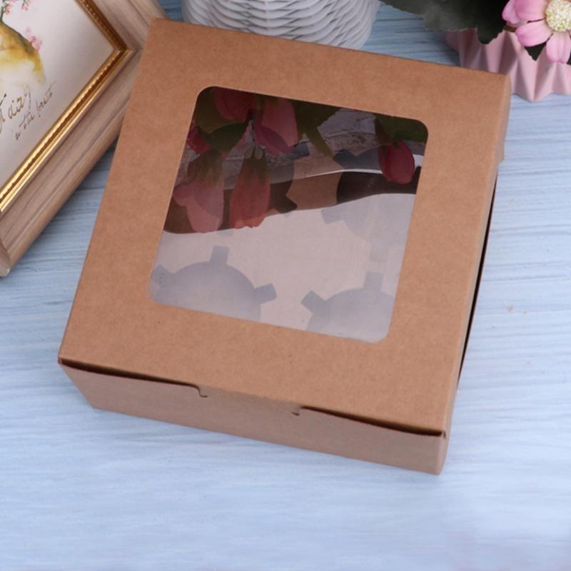 10шт контейнер пекарня 2 4 6 отверстий свадьба десерт маффин картонный дисплей день рождения кекс коробка прозрачное окно упаковки
