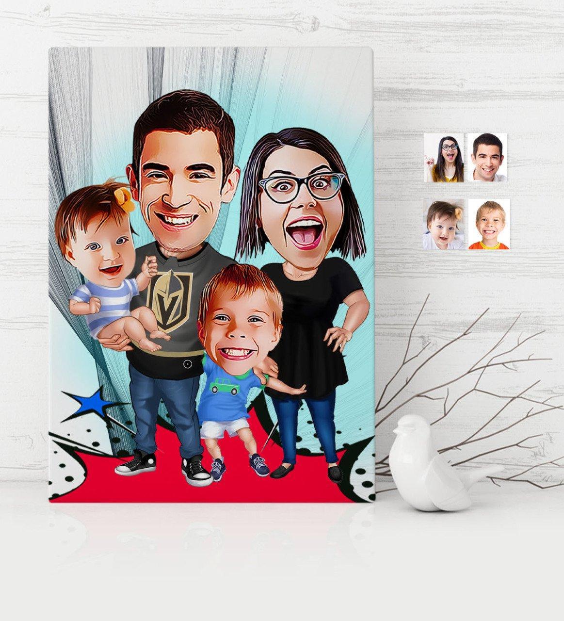 개인 가족 만화 캔버스 표 30 × 50 cm-3 애완 동물 집 정원 용품