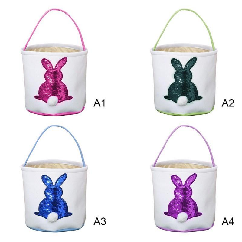 Cesti Echootime 100PCS 4 colori Easter Rabbit Basket Easter Bunny Borse Coniglio Printed Canvas Tote Bag Egg Caramelle di trasporto della nave veloce