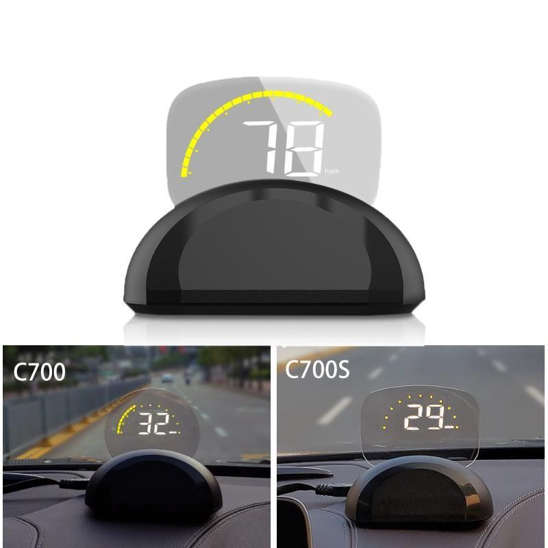 HD C700 OBD2 Car HUD cabeça Up Display Automobile viagem computador de bordo GPS velocímetro Limpar projetor ferramenta de diagnóstico