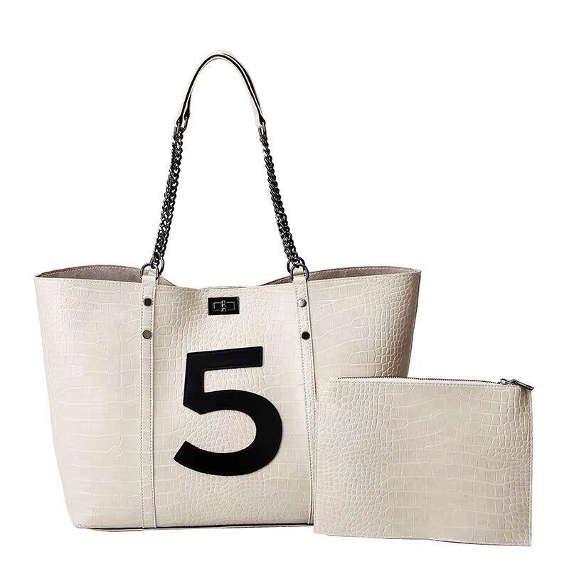 Kadınlar büyük kapasiteli hakiki deri seyahat çantası ücretsiz kargo tek omuz Kompozit Çanta alışveriş torbalarını zincirle totes