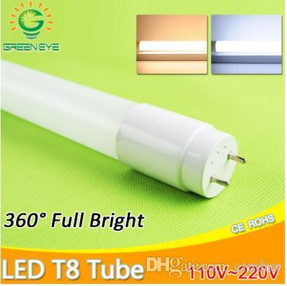 LED 튜브 T8 10w 60cm AC110v 220v LED 형광등 튜브 LED 램프 유백색 커버 따뜻한 ColdWhite 빨강 파랑 분홍색 SMD2835 전구 네온
