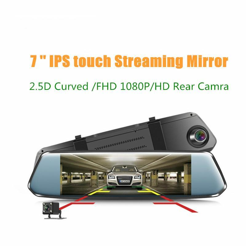 7'' IPS Curved screen Car DVR Stream RearView Mirror Dash cam Full HD 1080 Car Video Record Camera with 2.5D curved glass