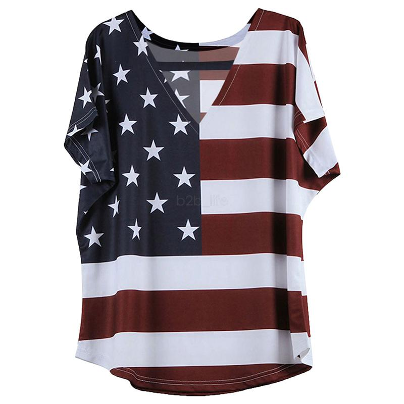 Womens Summer Short Sleeve Independence Pattern Tops Round Neck T Shirts