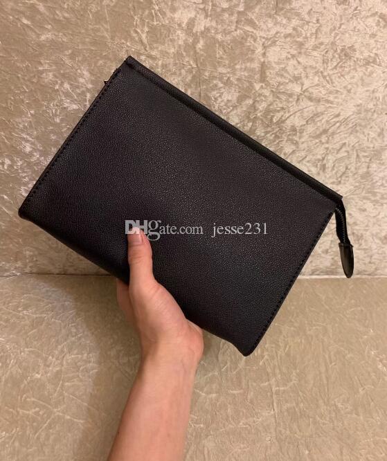 Haute Qualité luxe Nouveau Voyage Pouch 26 cm Toiletry Protection maquillage Clutch femmes Sacs cosmétiques imperméables en cuir pour les femmes avec sac à poussière