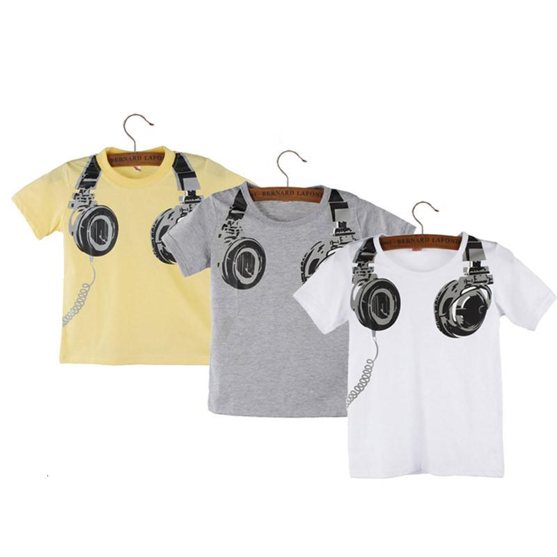 2019 Hot Sale t shirt Boy Kids summer children clothing Headphone Short Sleeve Tops Blouses t shirt Tees Clothes #N30 SH190916