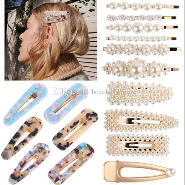 Pearl Hairpins Set Women Hair Clips Combination Acrylic Acid Bobby Pins Side Clips Barrettes Headdress Fashion Accessories Hair Jewelry