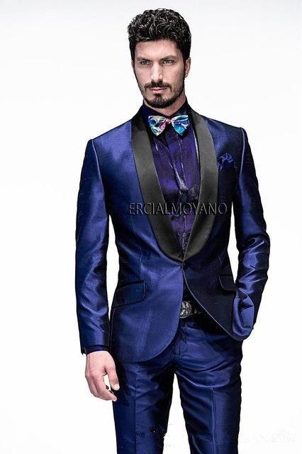 2020 Fine One Button Groomsmen Shawl Lapel Groom Tuxedos Men Suits Wedding/Prom/Dinner Best Man Blazer(Jacket+Pants+Tie)