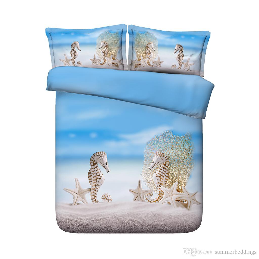 Seahorse bedding Beach Duvet Cover 3-Piece Bedding Set With Pillow Shams Coastal Bedspread Coverlet Seashells Ocean Wave Comforter Cover Sea
