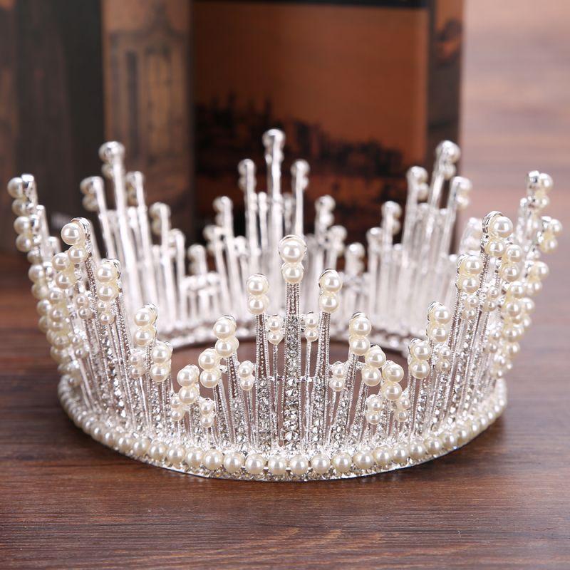 Trendy Silver Pearl Tiara Round Wedding Big Crowns For Bride Hair Accessories Crystal Inlaid Queen Crown Wedding Hair Jewelry Y19061703
