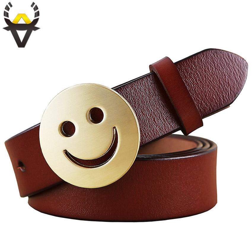 Smile face Pin buckle belt woman 2018 Fashion Genuine leather belts for women