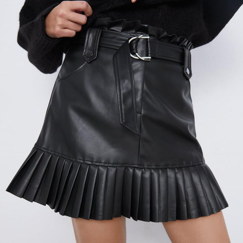 RR Schwarz PU Röcke Frauen Mode-Leder-Rock-Frauen-elegante Krawatte Gurt-Taillen-Minirock Weibliche Damen IP