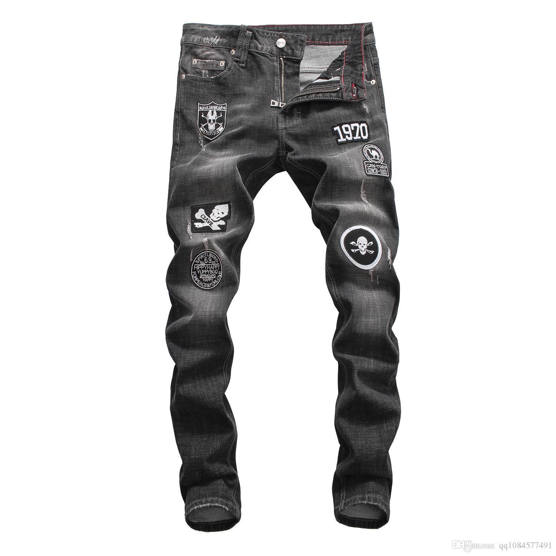 Otoño e Invierno Europa y Estados Unidos Gris tendencia Lavado Cintura baja Pies Discoteca Moda Boutique Jeans Pantalones Hombres