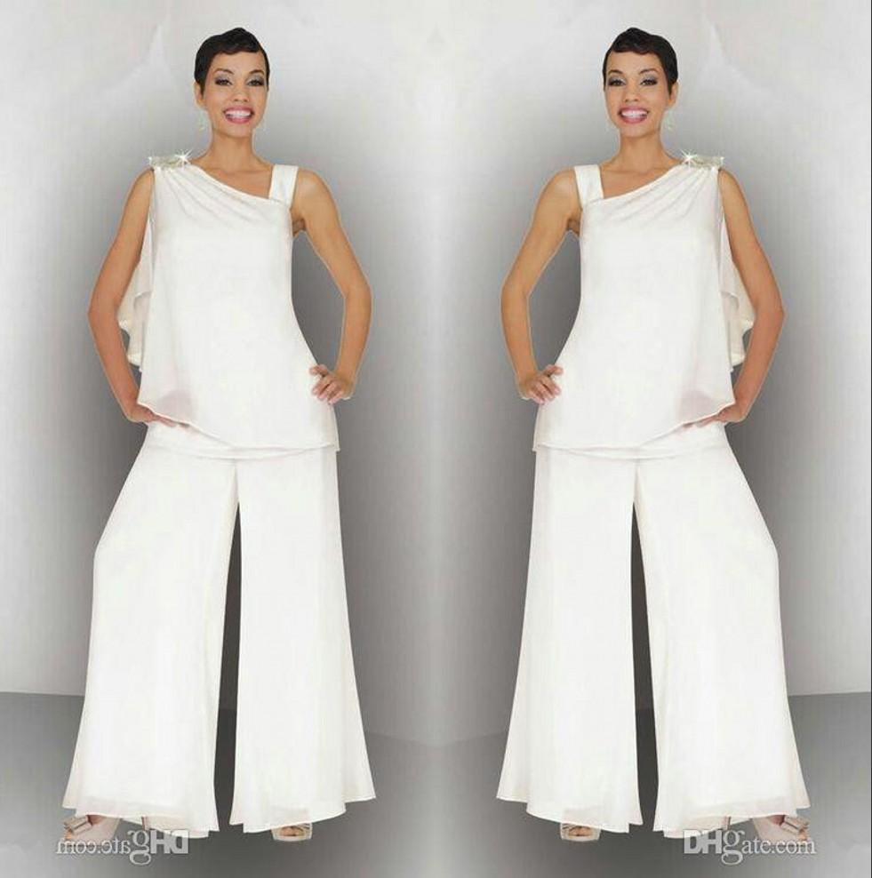 Элегантные женщины мама невесты Жених Pant Suit Ruched Кристалл Плюс Размер Белый шифон Формальные Свадебные платья гостей