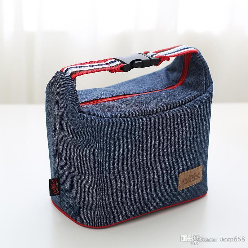bolsas de comida de la versión coreana del paquete del almuerzo caja de aislamiento exterior dril de algodón bolsa grande el almuerzo al aire libre de la capacidad de almacenamiento de hielo bolsa de picnic nueva