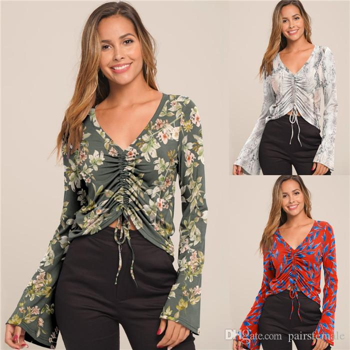 Frauen Printed Langarm-T-Shirt mit V-Ausschnitt Mode Ausgestelltes Sleeve Drawstringspitze Famale Kleidung