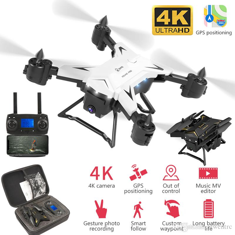 5G GPS RC Drone With HD 4K Camera Wide Angle WIFI FPV Quadcopter MV Editor Helicopter Gesture Photo Foldable Portable Dron