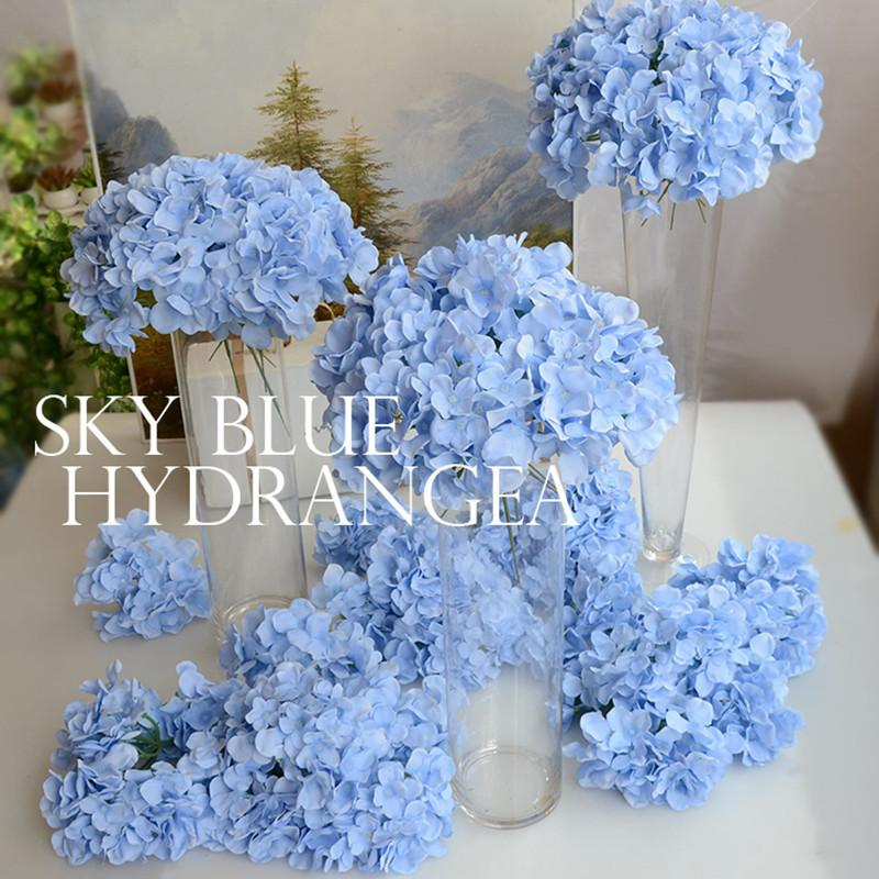 Artificial silk hydrangea flower head wedding bouquet decoration or DIY Production backdrop with flowers 50pcs/lot TONGFENG C18112601