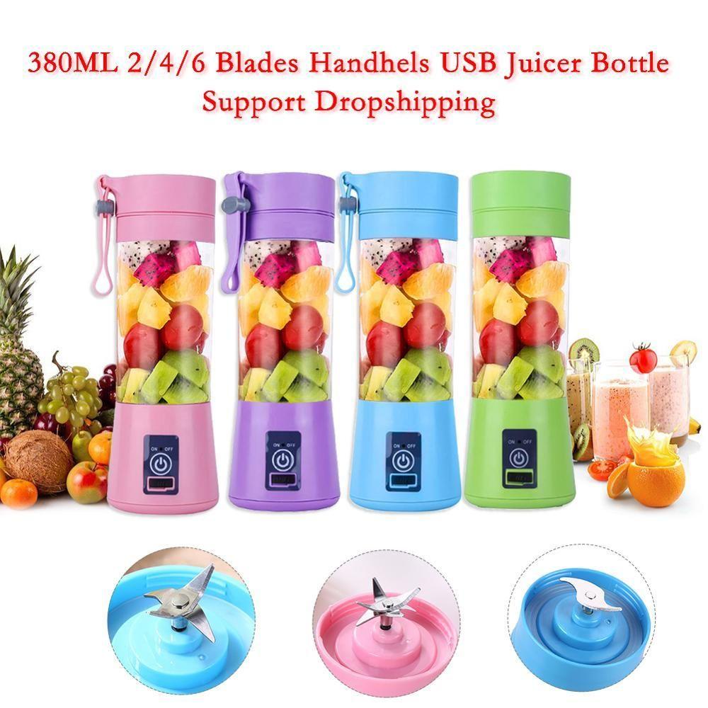 380ml 2/4/6 Blades Mini USB elétrico do fruto Juicer Handheld Smoothie Criador Blender agitação recarregável Mini suco portátil Cup