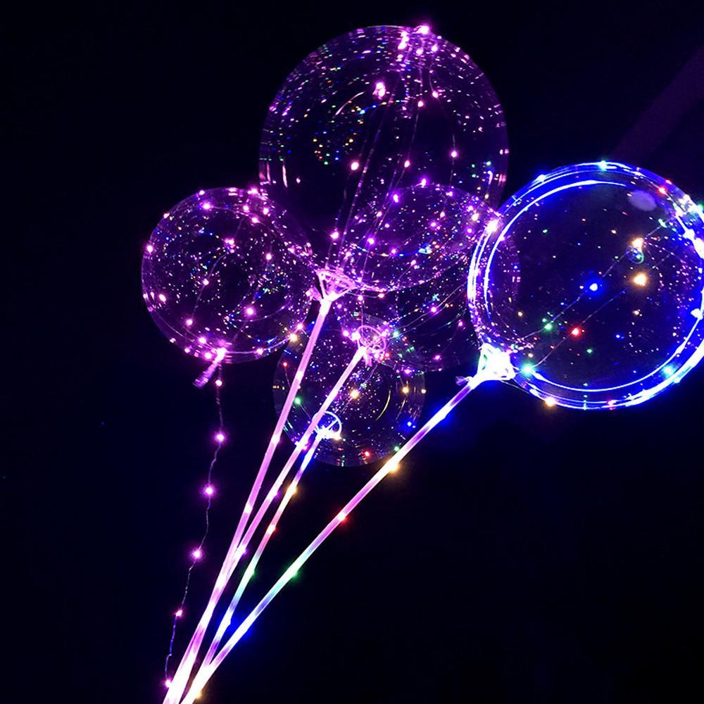 1SET البالونات حامل العمود الوقوف بوبو البالونات LED أضواء البلاستيك الشفاف بالون عصا الاطفال تاريخ الميلاد حفل زفاف الديكور