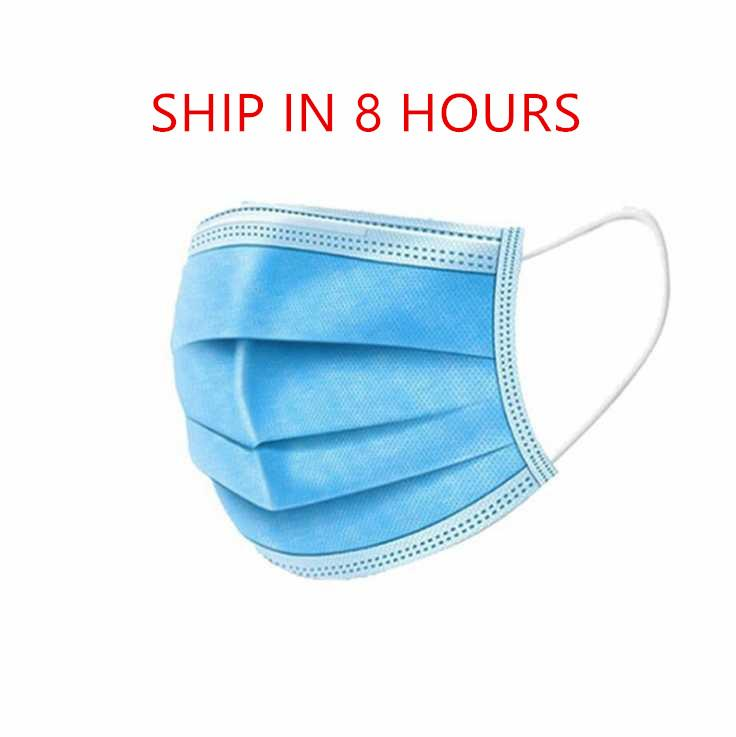 Ship IN 8 hours Disposable Face Masks Thick 3-Layer Masks with Earloops for Salon, Home Use Comfortable Mask