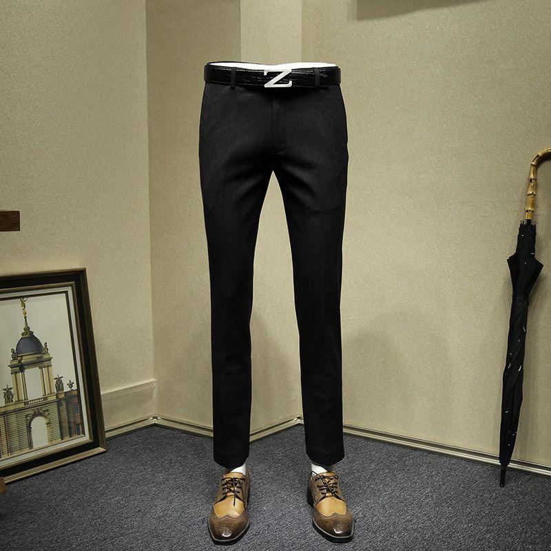 men dress pants slim fit formal business man thicken suit pant wedding groom wear grey black office gentle man long trousers