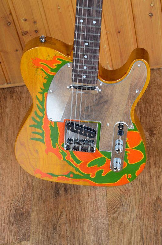 Sur mesure Jimmy Page du Dragon Tele Laque Natural Satin TL Guitare électrique Corps en frêne, Miroir pickguard, 21 frets Palissandre Dot Inlay