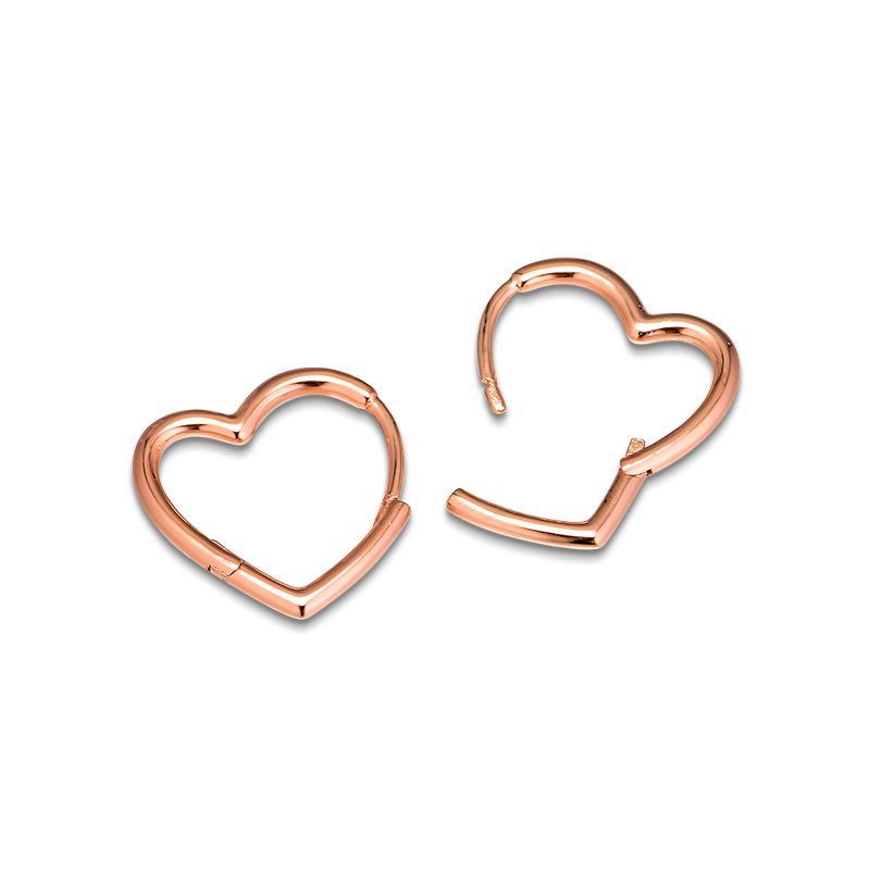 Neuer authentischer 925 Sterlingsilber-Ohrring-Rosen Asymmetrische Herz-Band-Ohrringe für Frauen Wedding Gift Feines Europa Schmuck