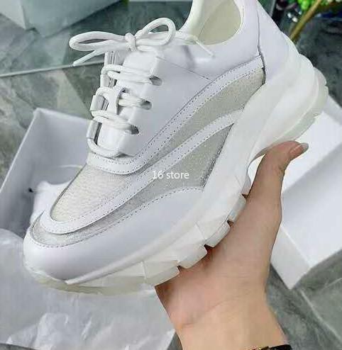 Calidad superior diseñador de la raya doble mujer zapatos clásicos viejos papá triple color blanco fluorescente transparente diseño de malla zapatos casuales