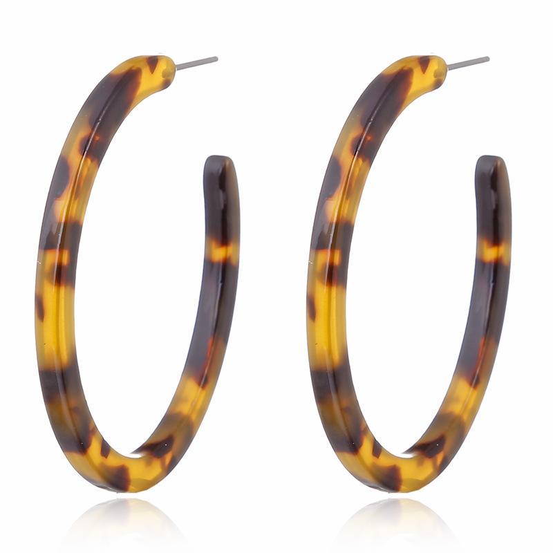 Pendientes del aro de acrílico colorido del círculo de acetato para las mujeres del estampado leopardo de regalo de la joyería de resina geométrico grande Huggie Pendiente Moda