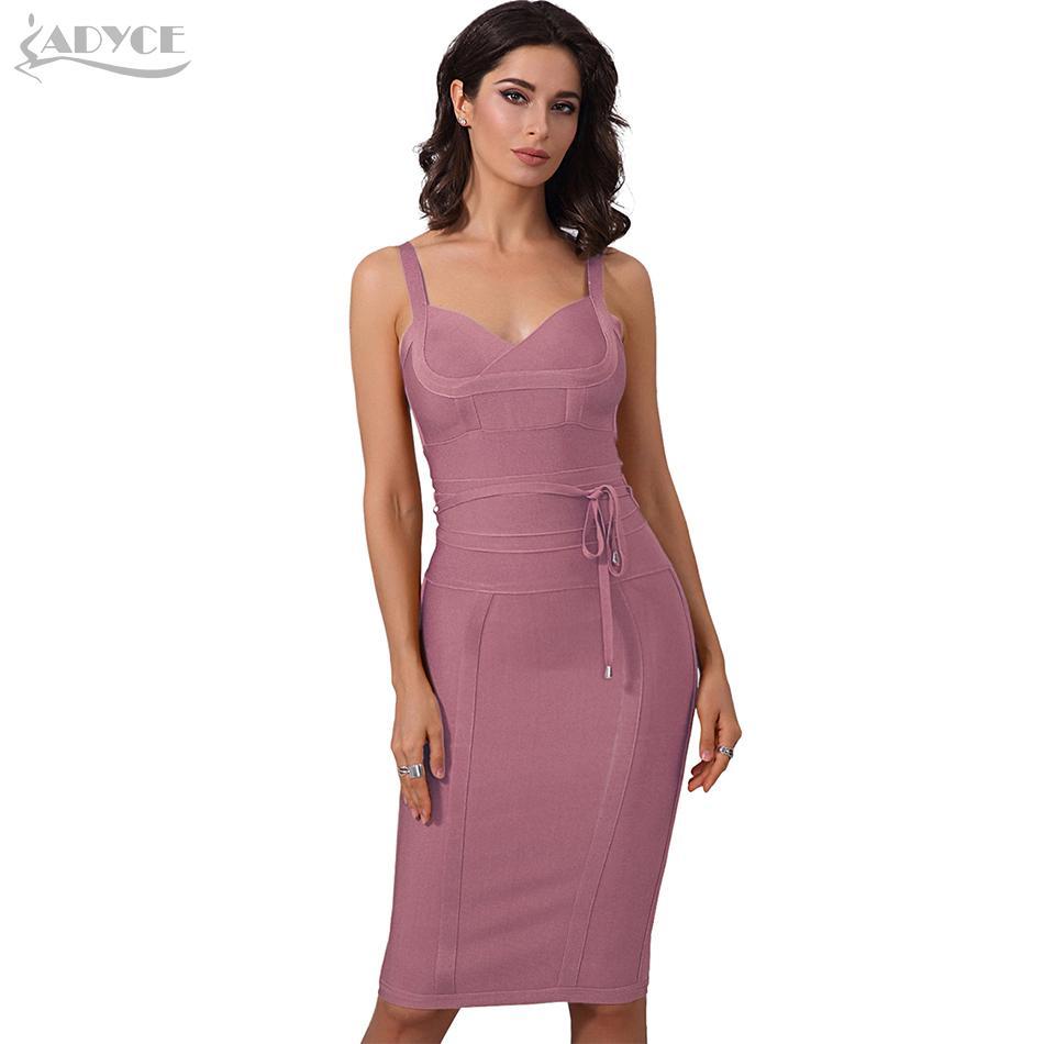 Spaghetti Strap Adyce vestiti da estate delle donne del vestito dalla fasciatura 2019 sexy del partito della celebrità vestito dal locale notturno aderente Club Dress Abiti Y200120