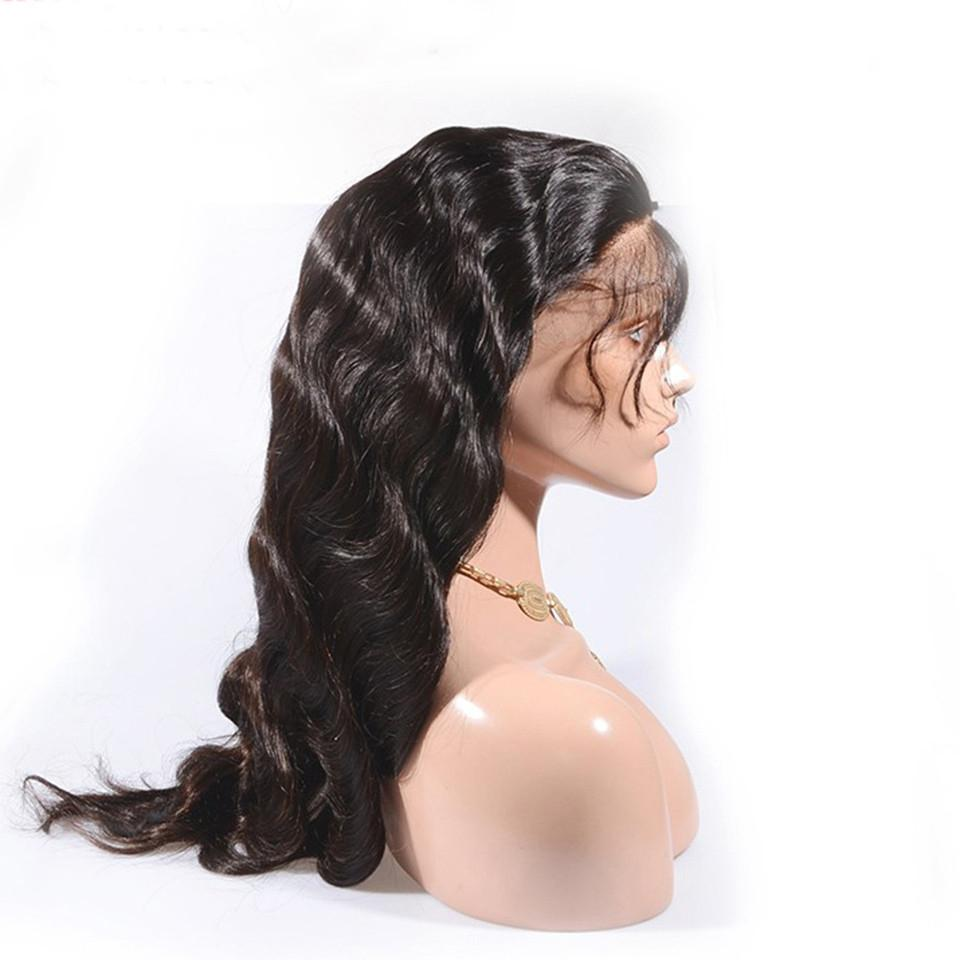150% Densidad del frente del cordón del cabello humano pelucas de la onda del cuerpo de encaje frontal y paquetes de pelucas para las mujeres con bebés pelo blanqueado nudos Angelawigs